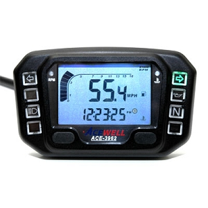 Acewell 3962 Black Digitial Motorcycle Speed / Gauge