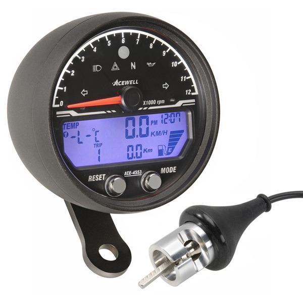 Acewell 4553 Black Speedo Motorcycle Gauges For Custom Bikes Cafe