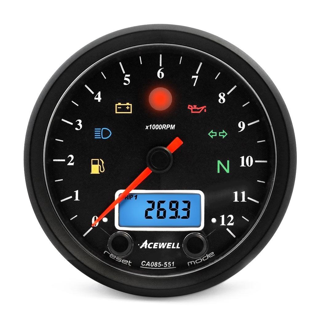 Acewell CA085-551 Black Classic Speedo Tachometer for Cafe Racer Scrambler  Tracker