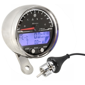 Acewell 4553 Motorcycle Speedo - Chrome
