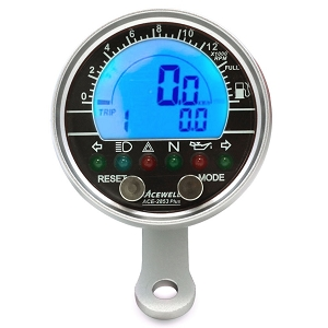 Acewell 2853 Motorcycle Speedo - Brushed Aluminum