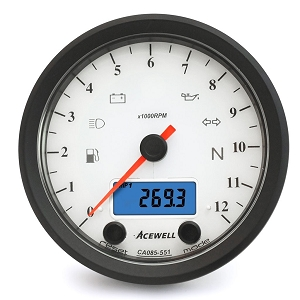 Acewell CA085-551 Classic Multifunction Speedo / Tachometer - White Face