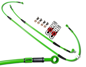 Core Moto Front & Rear Brake line Kit (Green Line & Green Fittings) 04-05 KX125