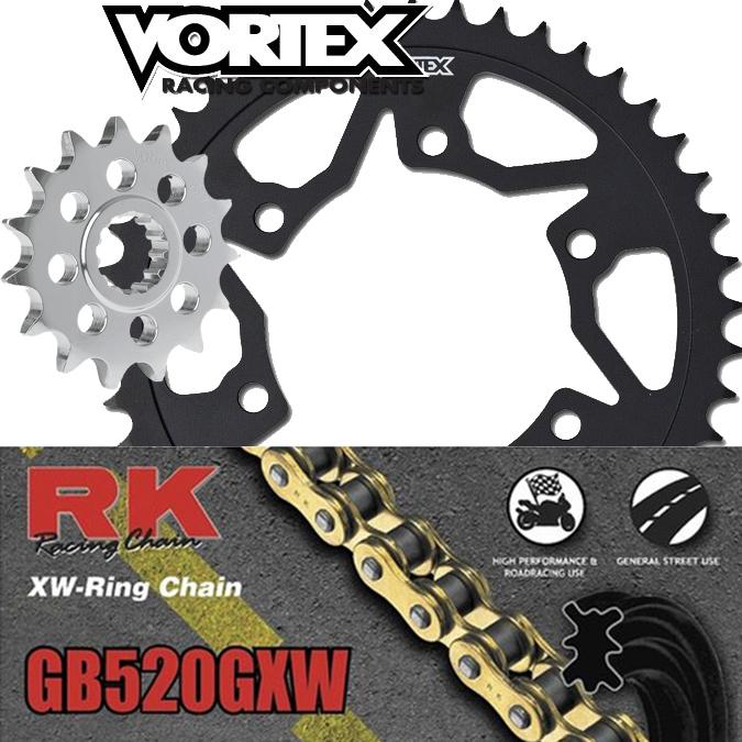 Vortex Steel Sprocket RK GB 520 GXW Chain Kit 11-15 ZX10R Kawasaki