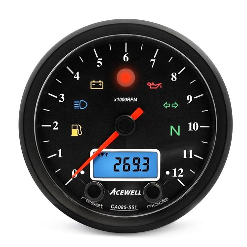 Acewell CA085-551 Classic Multifunction Speed / Tachometer - Black Face