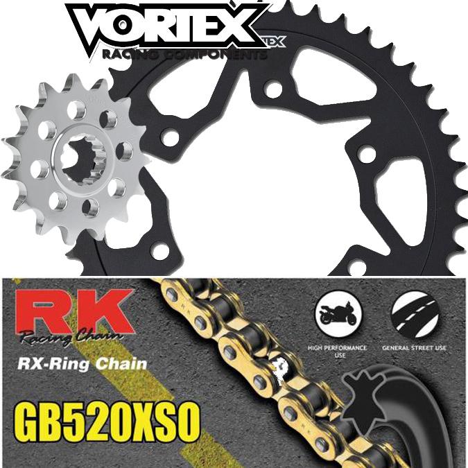 Vortex Sprockets 15//43 520 Kit RK MAX-O Chain 2005 2006 Kawasaki Ninja 636 ZX6R